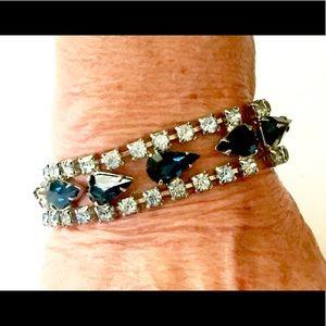 Sapphire Blue Rhinestone Bracelet Vintage 1960s